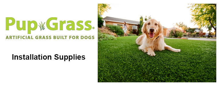 A golden retriever relaxes comfortably on Pup-Grass® synthetic dog grass.